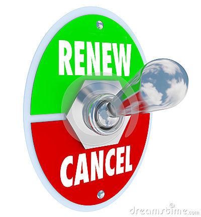 Free Renew Vs Cancel Words Product Service Renewal Cancellation Stock Photo - 44341850