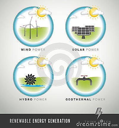 Renewable Energy Generation icons and symbols