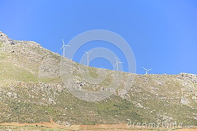 Renewable energy through wind power in the mountain regions in Crete.