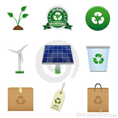 Renewable energy and recycle icon