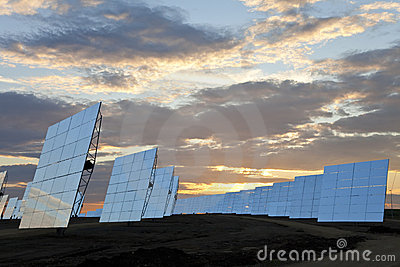Renewable Energy Solar Mirror Panels at Sunset