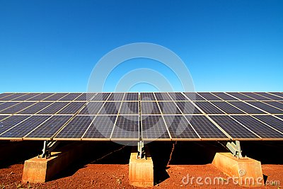 Renewable energy Solar panels against blue sky