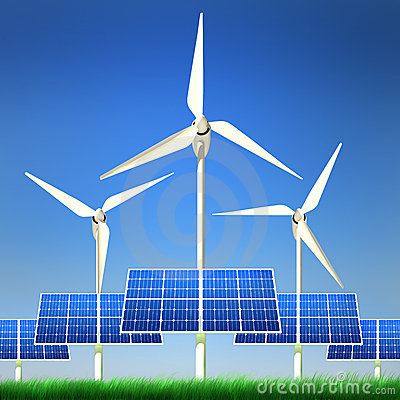 Renewable Energy - Solar Panels and Wind Power
