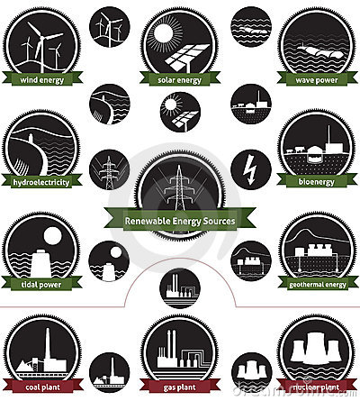 Free Renewable Energy Sources - Icon Pack Royalty Free Stock Photos - 22315538