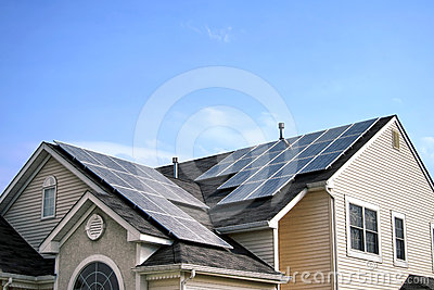 Renewable Green Energy Solar Panels on House Roof