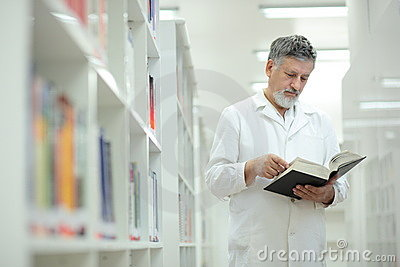 Renowned scientist/doctor in a library