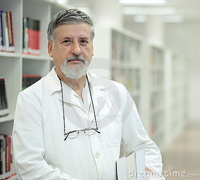 Renowned scientist in a library