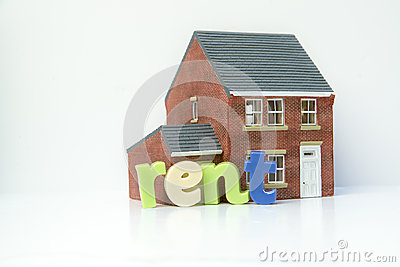 Rent lease house concept with model house and letters