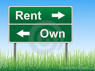 Rent and Own road sign.