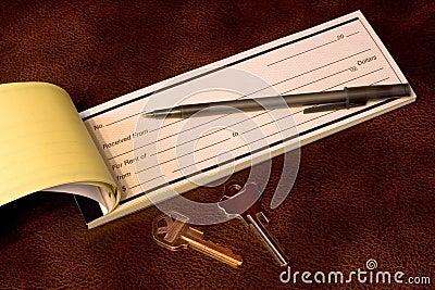 Rent receipt with keys