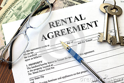 Rental agreement with dollars and keys