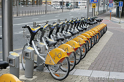 Rental bicycle parking in Bruxelles, Belgium Editorial Photo