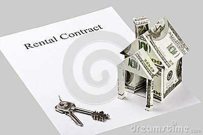 Rental contract is a blank on a gray background