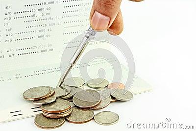 Repair account passbook with Coins on ,Thai bath