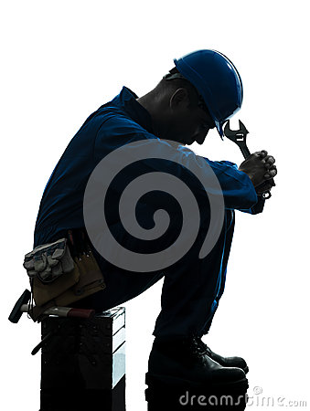 Repair man worker sad fatigue failure  silhouette