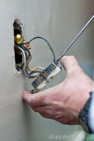 Free Repair Of Electric Wall Outlet Royalty Free Stock Photos - 18075028
