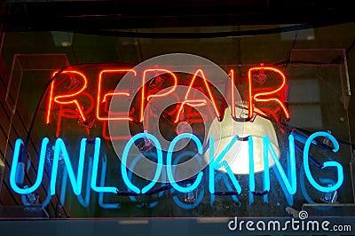 Repair Unlocking Sign