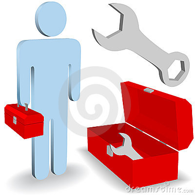 Repair work person tool box icon set