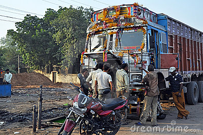 Repairing of an Indian Old Rusty Truck Editorial Photography