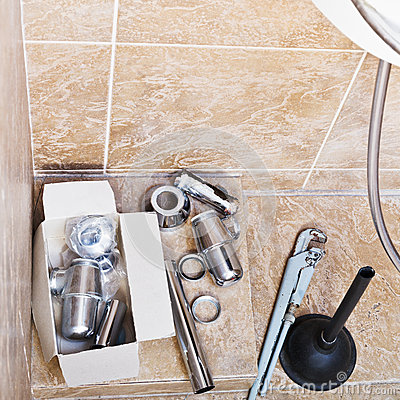 Free Repairing Of Rusted Sink Siphon In Bathroom Stock Images - 48697224