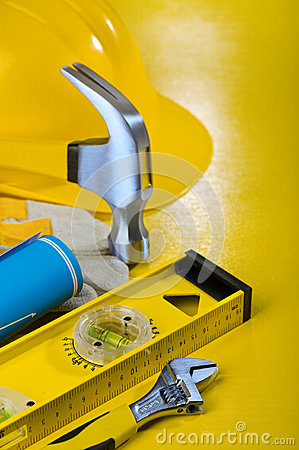 Repairing tools on yellow background