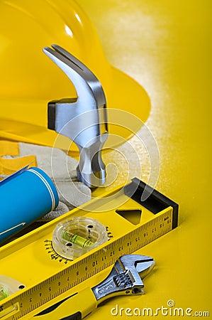 Repairing tools on yellow background
