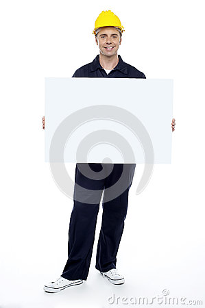 Repairman holding blank billboard