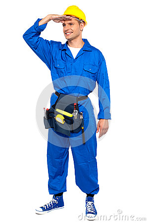 Repairman looking forward shielding hand