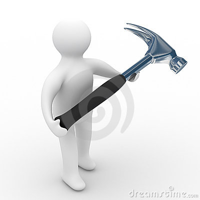 Repairman with the tool on a white background
