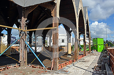 Repairs Started on Knox Presbytarian Church, Christchurch. Editorial Stock Image