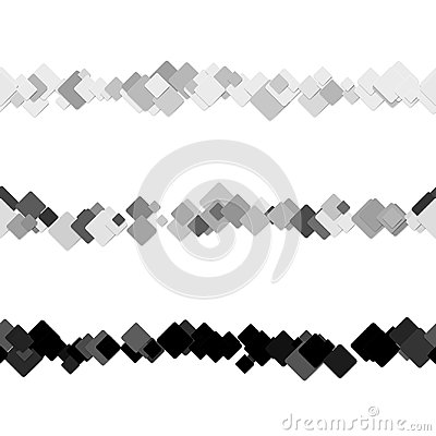 Repeatable abstract square pattern text rule line design set - vector design elements from diagonal rounded squares Vector Illustration