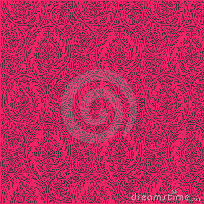 Repeatable Paisley Pattern Hot Pink Background