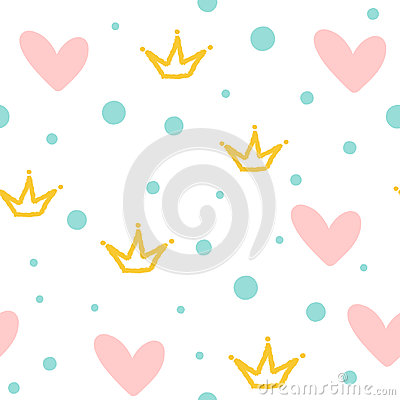 Repeated crowns, hearts and round dots. Cute seamless pattern. Drawn by hand. Vector Illustration