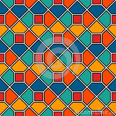 Free Repeated Octagons Stained Glass Mosaic Abstract Background. Vivid Ceramic Tiles Wallpaper. Seamless Surface Pattern Royalty Free Stock Image - 117832096