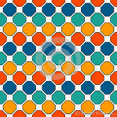 Free Repeated Octagons Stained Glass Mosaic Background. Bright Ceramic Tiles. Seamless Pattern With Geometric Ornament. Stock Photos - 96733293