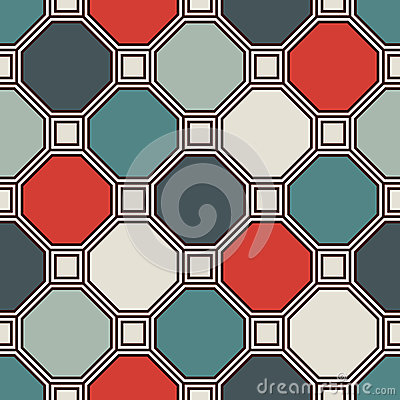 Free Repeated Octagons Stained Glass Mosaic Background. Retro Ceramic Tiles. Seamless Pattern With Geometric Ornament. Stock Photography - 87551502