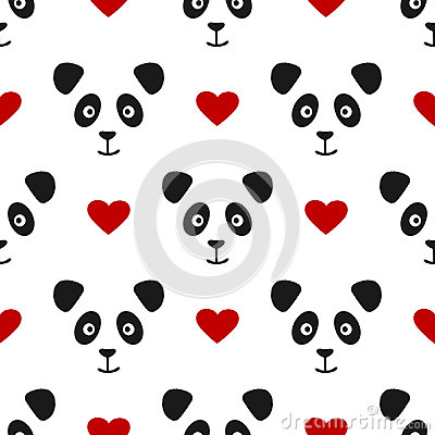 Repeated panda face and heart. Seamless pattern for children. Vector Illustration