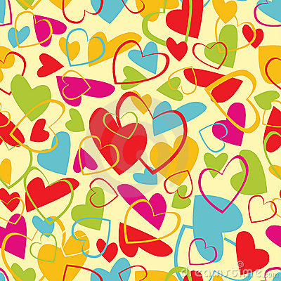 Repeated pattern with colorful hearts