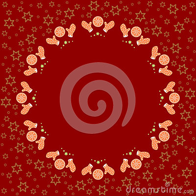 Free Repeating Circle Gingerbread Cookies Pattern On The Red Background With Stars Silhouette Royalty Free Stock Photos - 78376488