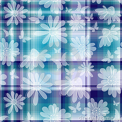 Repeating floral checkered pattern