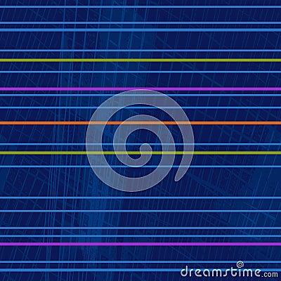 Repetitive geometric pattern of bright fluorescent horizontal stripes Stock Photo