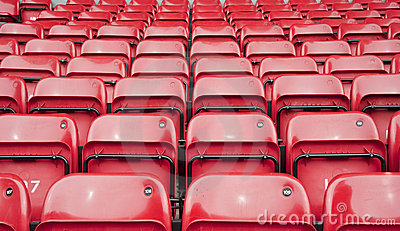 Repetitive pattern of football stadium seating