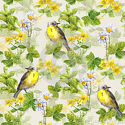 Free Repetitive Pattern: Wild Herbs, Flowers, Grass, Bird. Floral Watercolour Royalty Free Stock Photo - 80211715