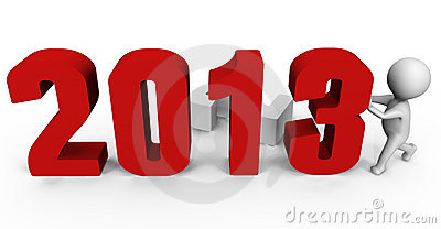 Replacing numbers to form new year 2013 - a 3d ima