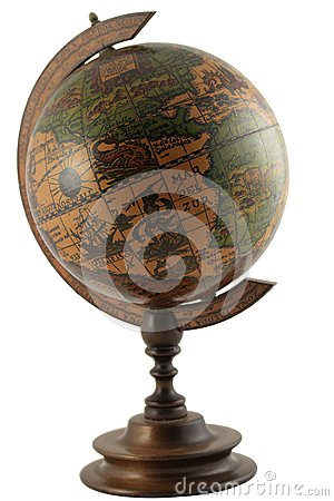 Replica of antique representation of the globe wit