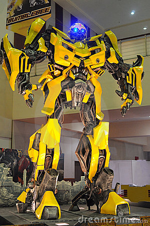 Replica of Bumblebee from Transformers were displa Editorial Photography