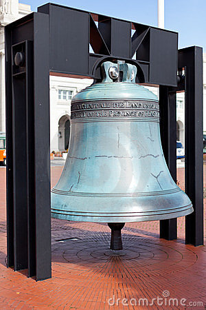 Replica freedom bell in front of Union Station