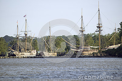 Replicas of The Susan Constant, Godspeed and Discovery ship Editorial Stock Photo