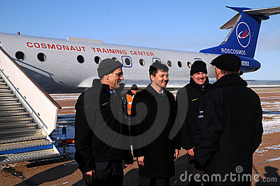 Report Upon Arrival in Baikonur Editorial Stock Image