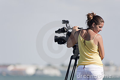 Reporter filming Editorial Photo